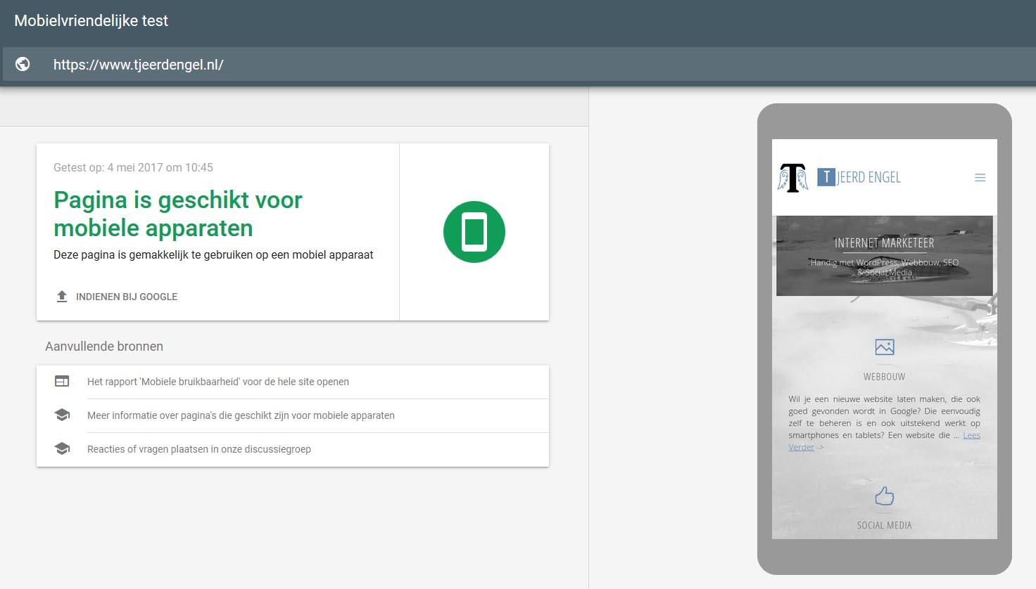 Website mobiel vriendelijk test