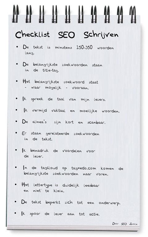 checklist Hoe schrijf je een goede (seo) webtekst